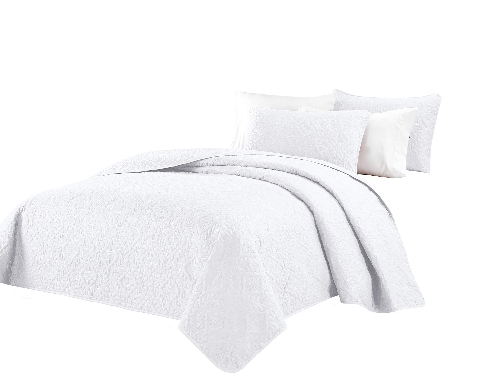 Fancy Collection 3pc King/California King Oversize Bedspread Coverlet Set Embossed Solid White New