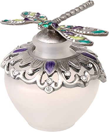 H&D 40ml Retro Frosted Glass Perfume Bottle with Dragonfly Stopper Empty Refillable (Dragonfly)