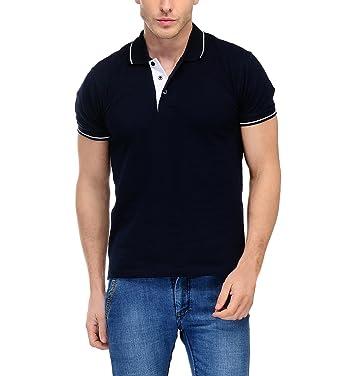 054969df Scott International Scottish Polo T-Shirt for Men (Navy Blue) Small