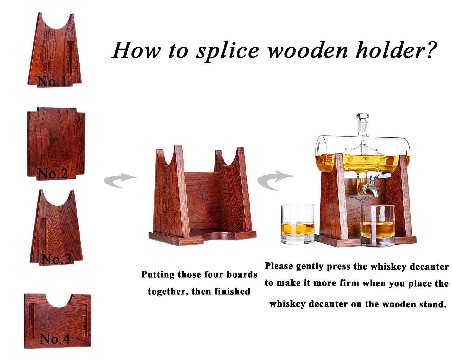 Jillmo Whiskey Decanter Set with 2 Glasses - 1250ml & 42 oz Lead Free Barrel Ship Dispenser with Detachable Wooden Holder Gift for Liquor, Scotch, Bourbon, Vodka, Whisky, Rum & Alcohol by Jillmo (Image #6)