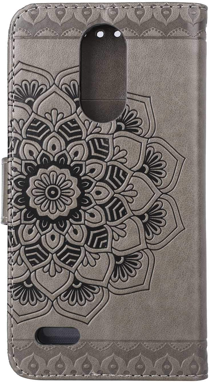 SONWO Mandala Flower Pattern Design Flip PU Leather Book Wallet Cover Case with Card Slots and Stand for LG K10 2017 Gold LG K10 2017 Case