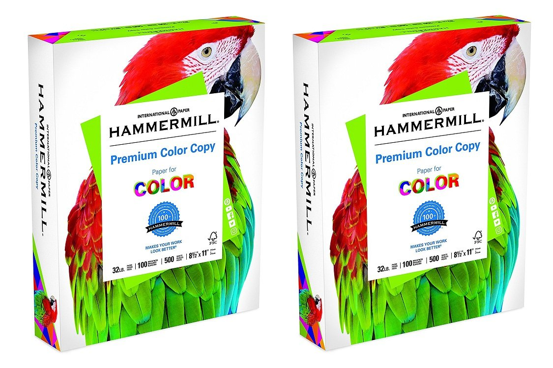 Hammermill Paper, Premium Color Copy, 32lb, 8.5 x 11, Letter, 100 Bright, 1 Ream (102630), Made in The USA (2 X Pack of 500)