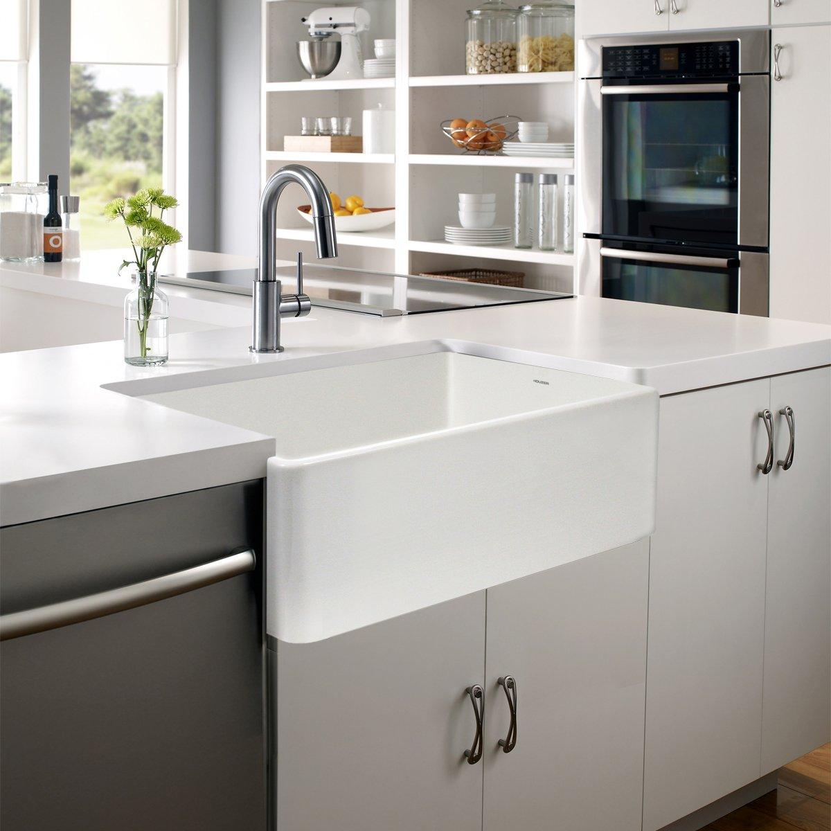 Kohler whitehaven apron sink - Houzer Ptg 4300 Wh Platus Series Apron Front Fireclay Single Bowl Kitchen Sink 33 White Amazon Com