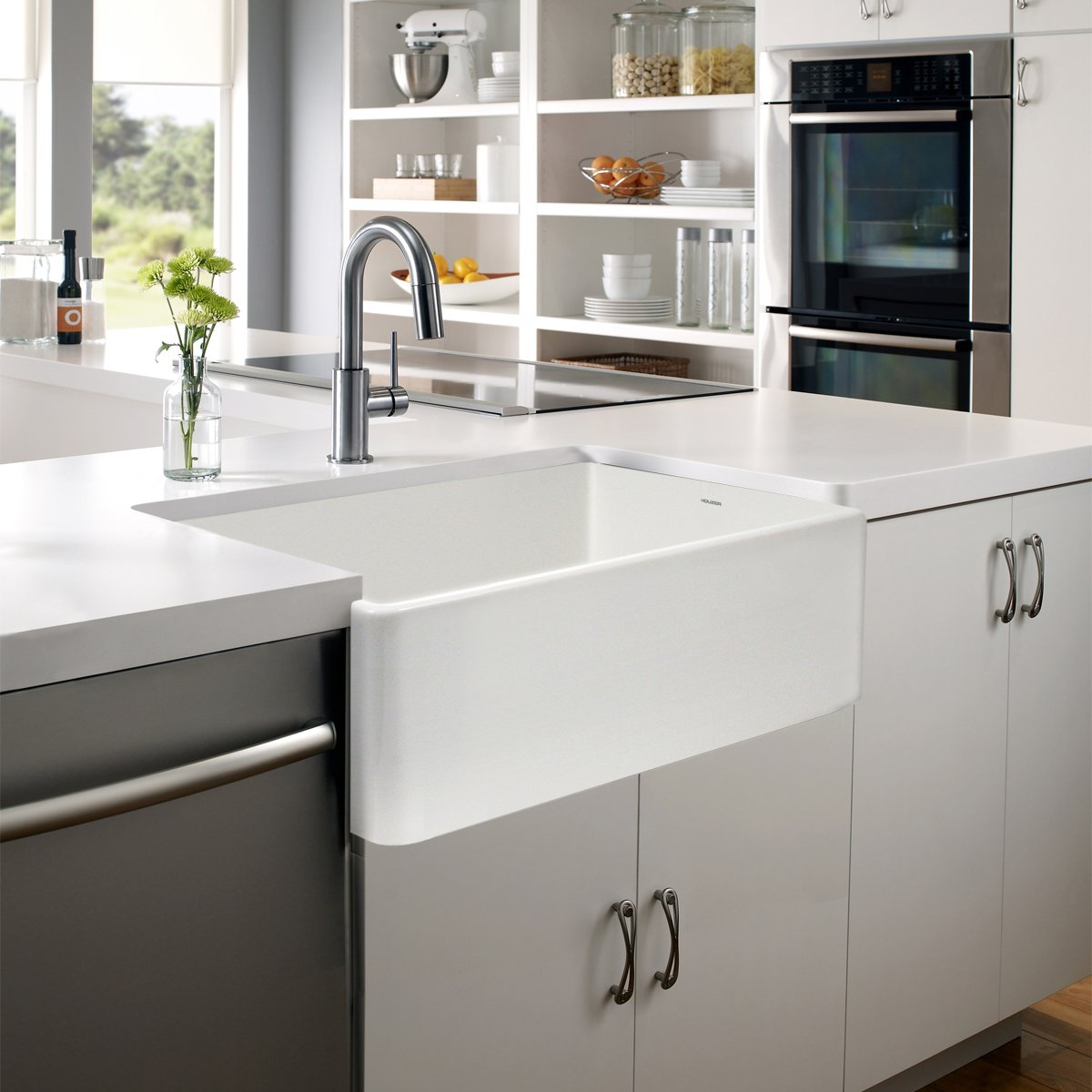 Houzer PTG-4300 WH Platus Series Apron-Front Fireclay Single Bowl Kitchen Sink, 33'', White by HOUZER (Image #3)