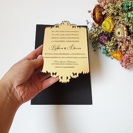 Amazon 100pcs per lot 110x180mm laser engraved letters golden 100pcs per lot 110x180mm laser engraved letters golden mirror acrylic wedding invitation card stopboris Gallery