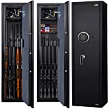 Langger Gun Safe for Rifle, Upgraded Quick Access 5-Gun Large Rifle Gun Security Cabinet for Rifle Shotgun Firearms with/with
