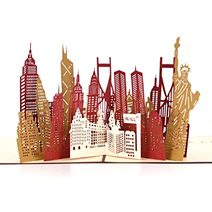 Pop Up Thank You Cards Breezypals 3D New York Silhouette Greeting With Envelopes