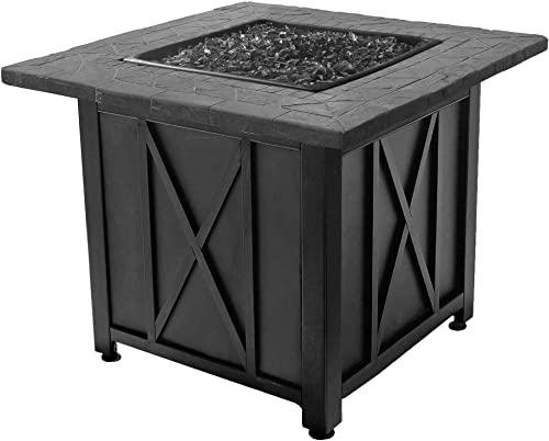 Endless Summer Blue Rhino Outdoor Propane Gas Black Fire Glass Patio Fire Pit