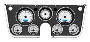Dakota Digital 67 - 72 Chevy Pickup Truck Analog Dash Gauge & Clock Silver Alloy Blue VHX-67C-PA-S-B