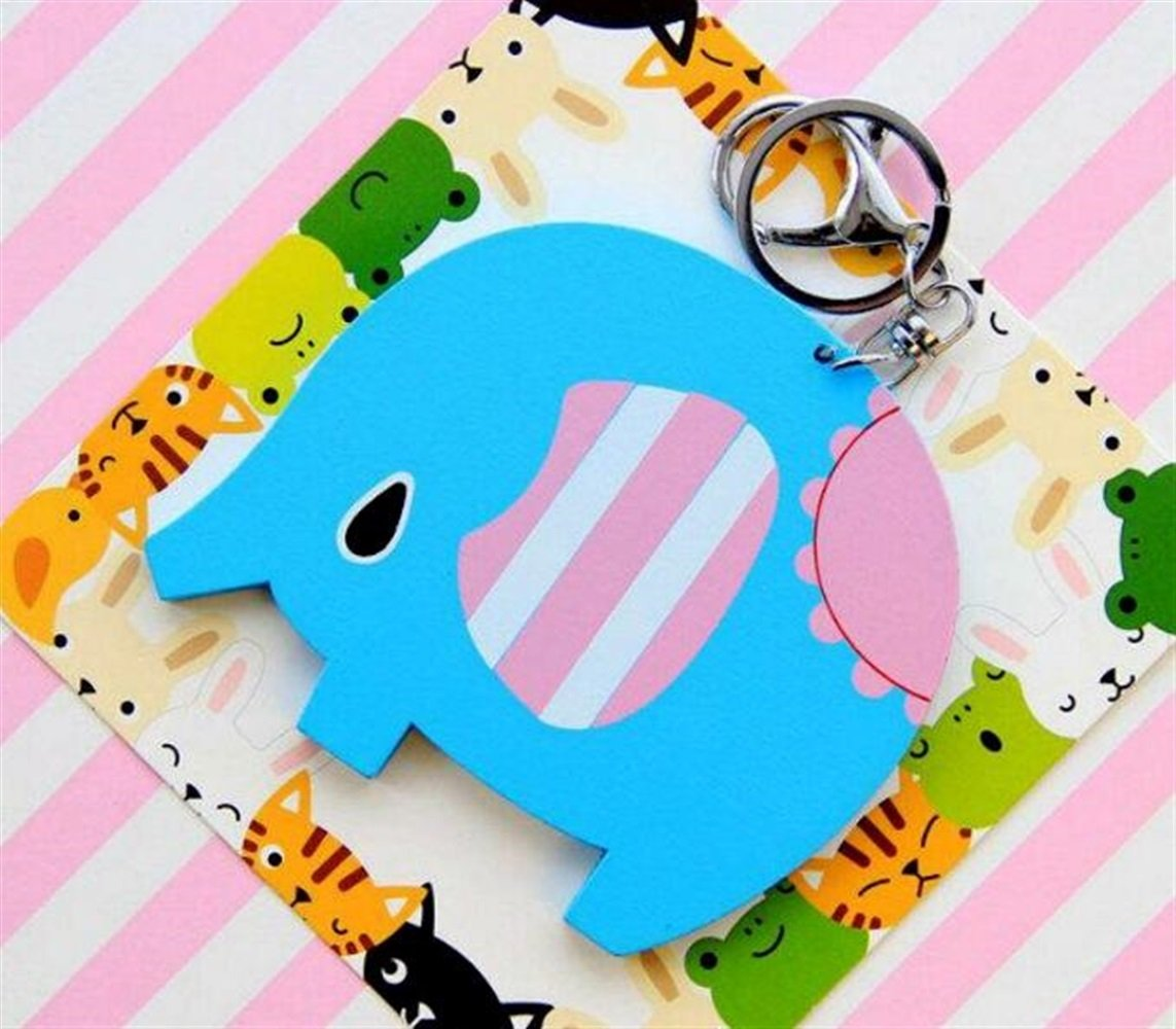 Yingealy Childrens Mirror Mini Cartoon Elephant Pattern Small Glass Mirrors Circles for Crafts Decoration Cosmetic Accessory