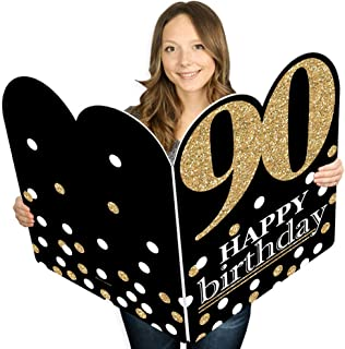 product image for Big Dot of Happiness Adult 90th Birthday - Gold - Happy Birthday Giant Greeting Card - Big Shaped Jumborific Card - 16.5 x 22 inches
