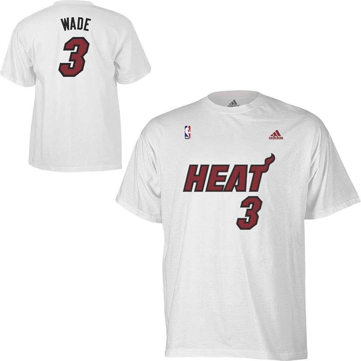 Amazon.com : Dwayne Wade Miami Heat White Jersey Name and Number T-shirt  X-Large : Sports Fan Apparel : Sports & Outdoors