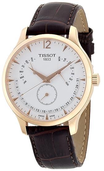 brand new a3258 0778a [ティソ] 腕時計 トラディション パーペチュアルカレンダー クォーツ シルバー文字盤 レザー T0636373603700 メンズ 正規輸入品  ブラウン