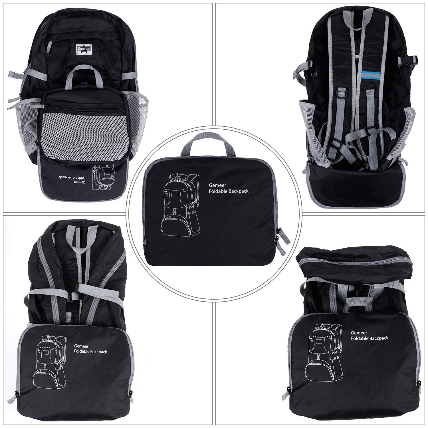 2c780dc14251 Gemeer Foldable Backpack - Lightweight Packable Durable Backpack for ...