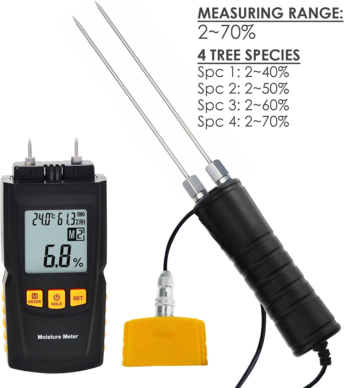 Damp Detector Portable Bamboo Soft Wood Bamboo in Sheetrock Timber Digital Wood Moisture Meter 2~70/%// Humidity 20~90/% RH//Temperature 14~140/°F Tester Measure Water Percentage in Sheetrock Paper