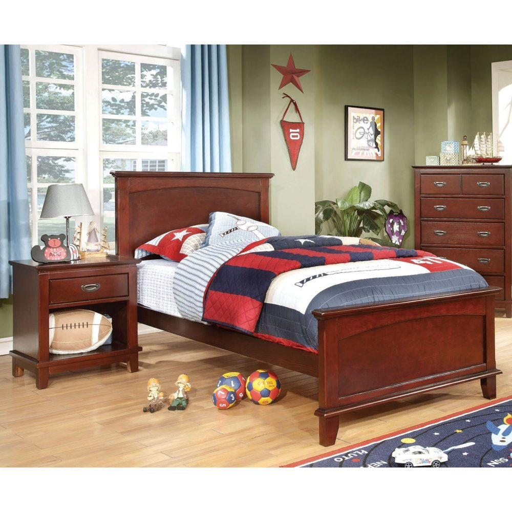 Furniture of America Adrian Inspired 2-Piece Bedroom Collection with 2 Nightstands - Cherry