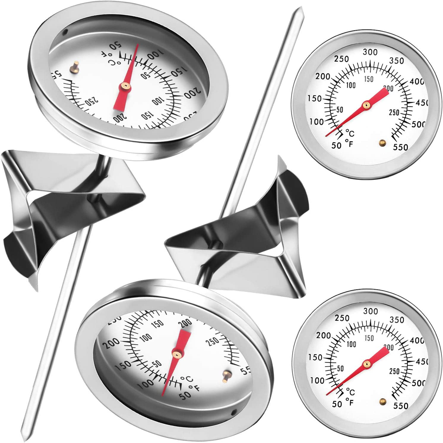 4 Pieces Deep Fry Thermometer with Clip 6 Inch Stem BBQ Grill Thermometer Meat Cooking Food Thermometer Stainless Steel Dial Thermometer with Instant Read