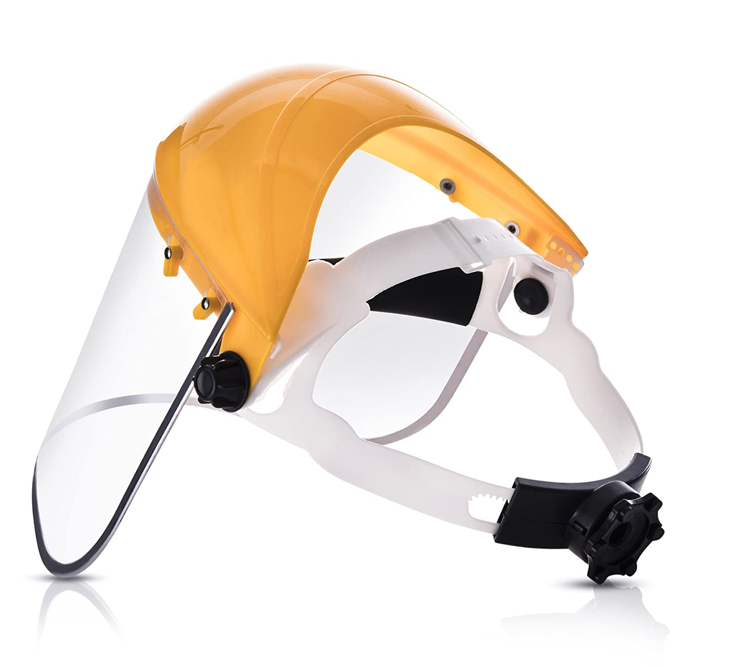 Clear Full Face Shield Visor Mask – Face And Head Coverage- Ideal For Automotive, Construction, General Manufacturing, Mining, Oil/Gas Uses – By Katzco