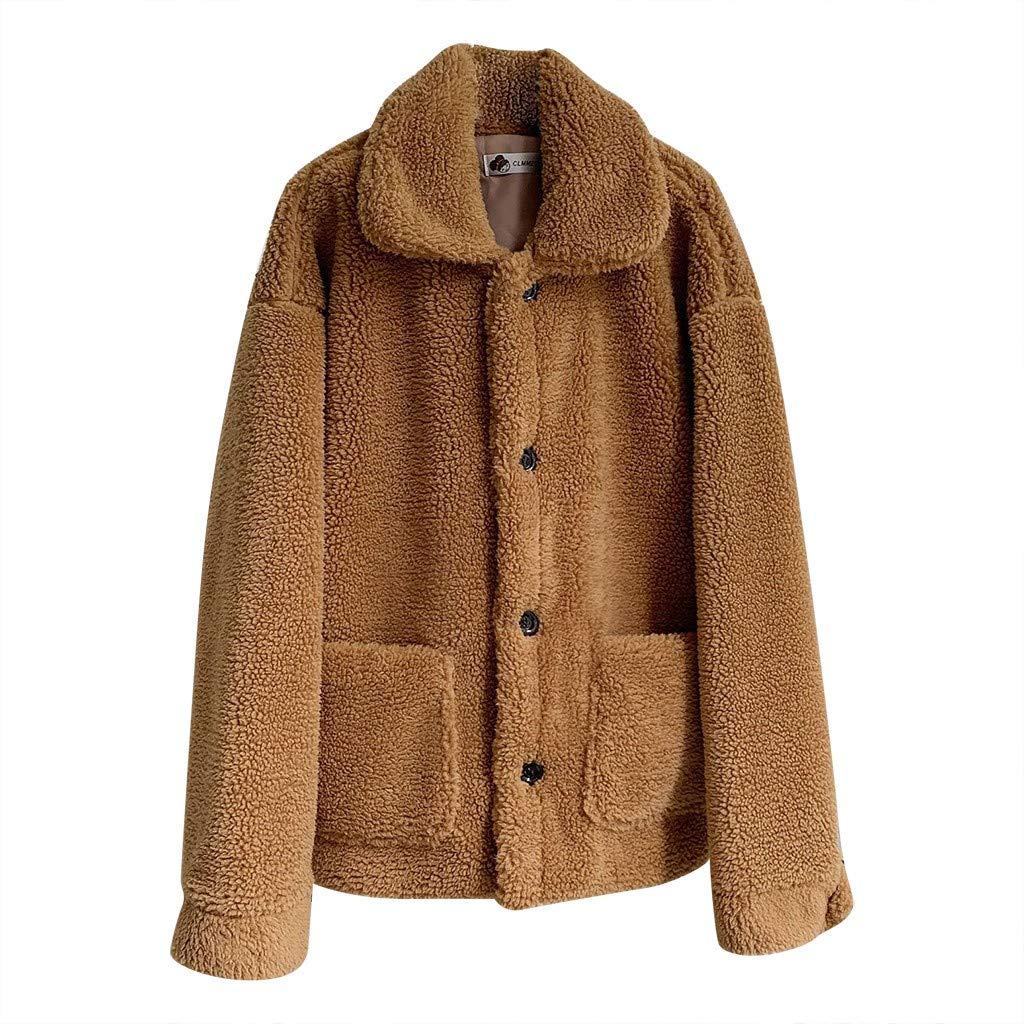 Wenini Women Plus Velvet Solid Color O-Neck Lapel Thickening Medium Long Pocket Coat by Wenini