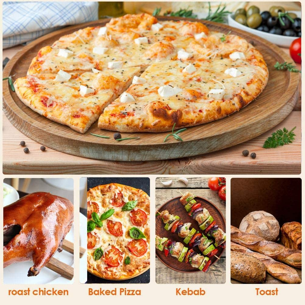 Cordierit Pizzapfanne mit Spatel Koch Backstein F/ür Ofengrill 38x30x1cm Feuerwiderstands Temperatur: 800 Pizzastein f/ür Backofen