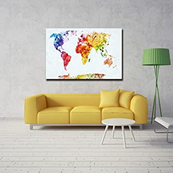 ShuaXin 1 Panel Simple Colorful World Map Canvas Painting In White Color Background Wall Art For