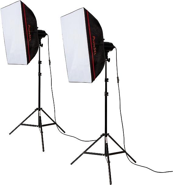 PhotoSEL LS21E52 - Kit de Luz de Iluminación Fotográfica Estudio (2 x Bombilla Continua, Ventana de Luz Softbox y Trípode), 85W: Amazon.es: Electrónica