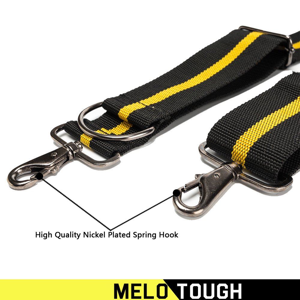 Tool Belt Suspenders|Padded Suspenders with movable phone holder Tape Holder Pencil holder,Flexible Adjustable Straps, suspenders Loop Attachments for carpenter electrician work Suspension Rig by Melo Tough (Image #6)