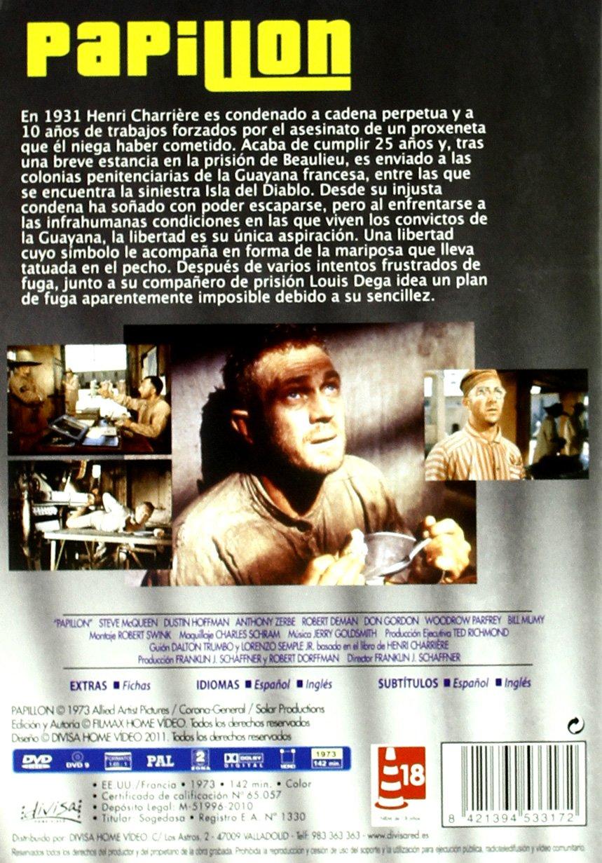 Papillón [DVD]: Amazon.es: Steve McQueen, Dustin Hoffman, Victor Jory, Don Gordon, Anthony Zerbe, Robert Deman, Woodrow Parfrey, Bill Mumy, George Coulouris ...