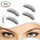 Amazon Price History for:Dual Magnetic False Eyelashes - 1 Pair of 4 PCS 0.2mm Ultra Thin 3D Fiber Reusable Fake Lashes Extension for Natural,No Glue Needed