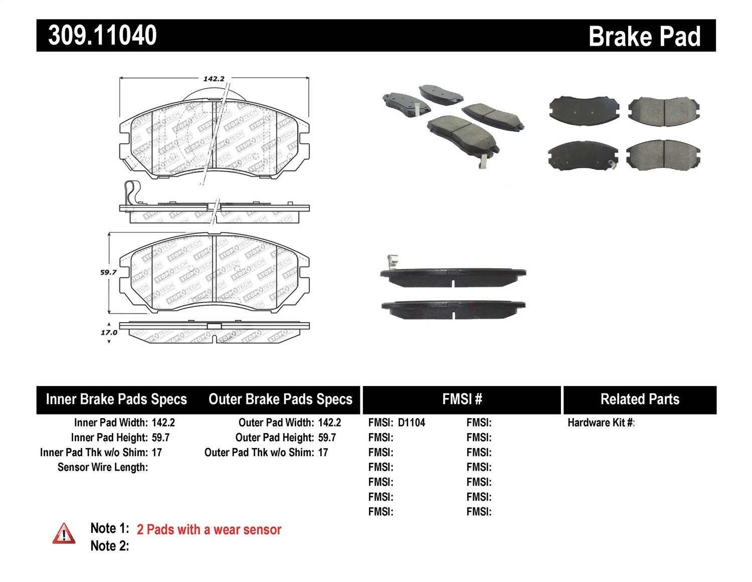 StopTech 309.11040 Street Performance Front Brake Pad