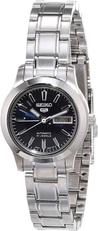 Amazon Com Seiko Women S Symd93k1 Seiko 5 Automatic Blue Dial Stainless Steel Watch Seiko Watches
