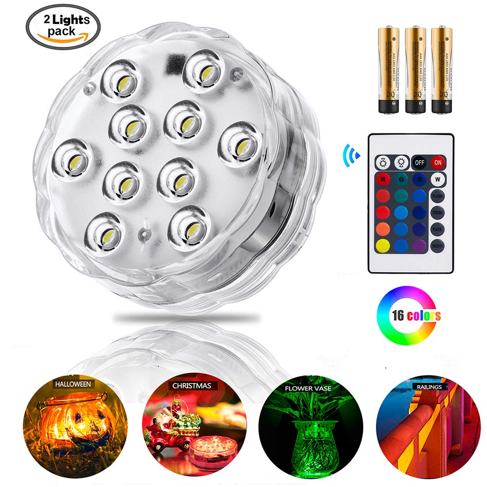 ZHUOFU Submersible led Lights-RGB Waterproof Underwater Lights with Remote Control for Hot Tub,Vase Base,Pond,Pool,Aquarium,Party,Fish Tank Decorations Lights 2pcs
