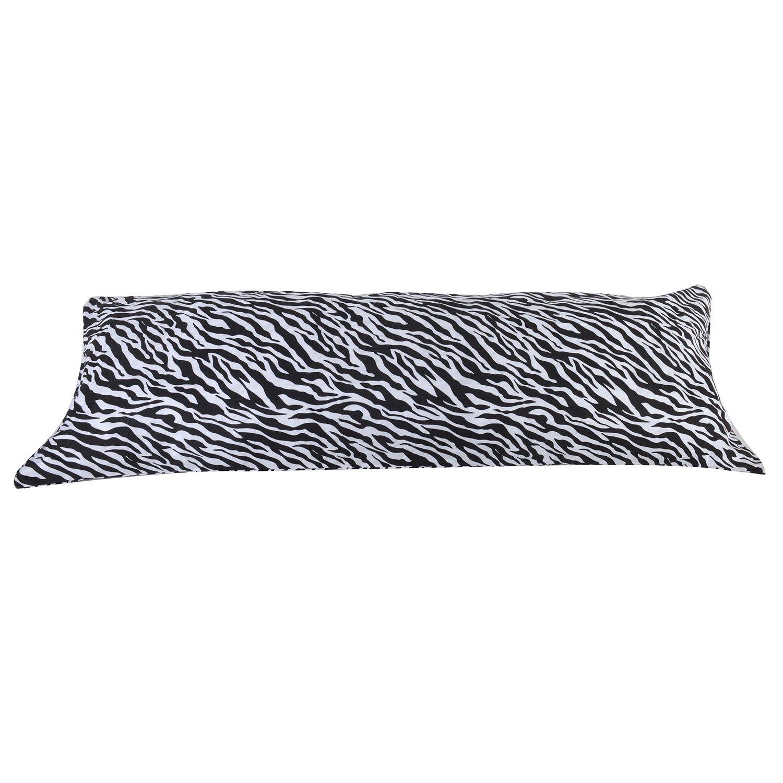 20''x54'' Zebra Animal Print Full Length Double Zippered Body Pillow Cover