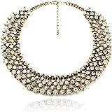 Fun Daisy Grand UK Princess Kate Middleton Hot Gold Rhinestone Fashion Necklace