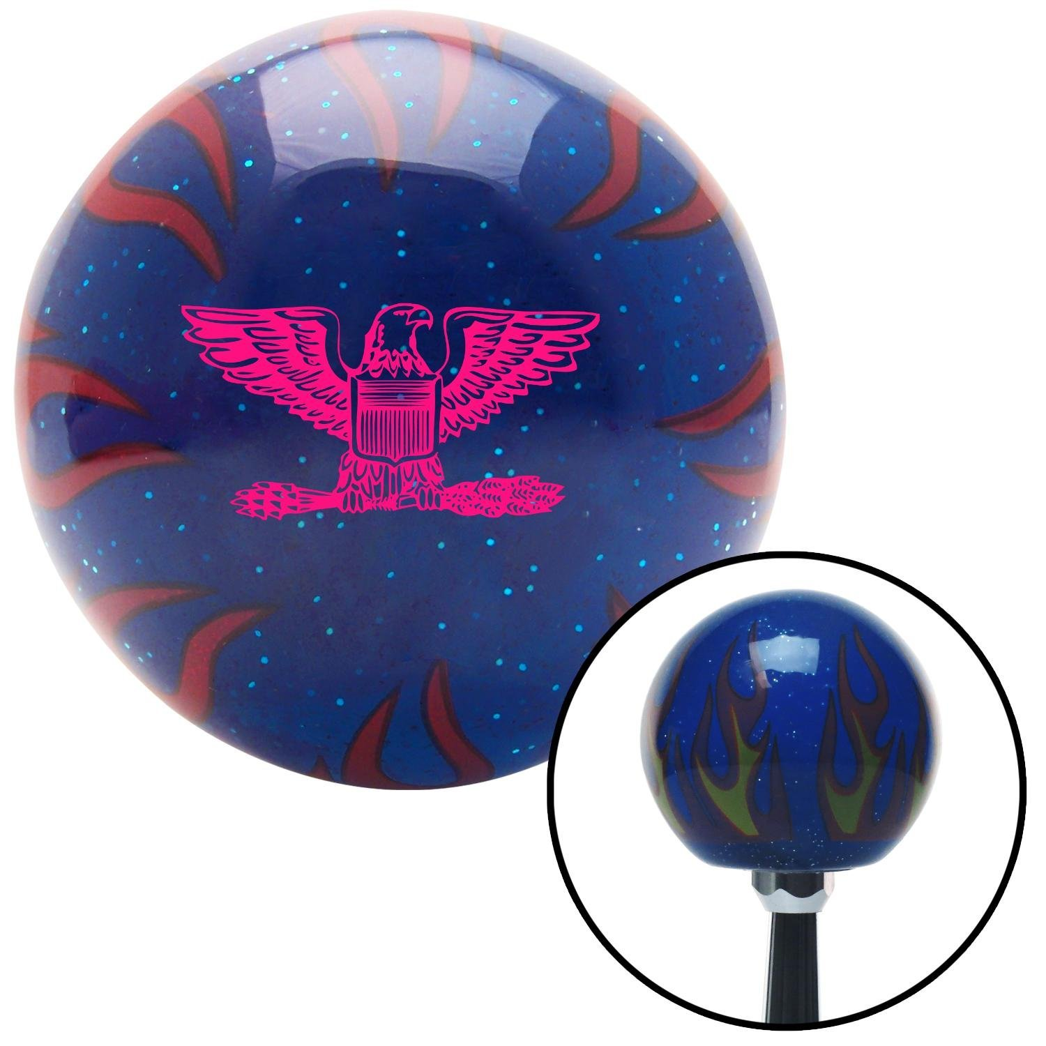 Pink Colonel American Shifter 249702 Blue Flame Metal Flake Shift Knob with M16 x 1.5 Insert