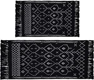 HEBE Cotton Area Rug Set 2 Piece Washable 2'x3'+4.3'x2' Reversible Woven Tassel Rugs Black and White Cotton Runner Rug Throw Rugs for Living Room Kitchen Laundry Entryway