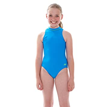 Zoggs Girls Broome Zipped Hi Neck Swimming Costume Pool Bluegreen