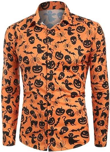 MEIbax Primavera Otoño Halloween Impresión Camiseta Manga Larga Hombre Solapa Camisetas Tops Hombre Blusa Abrigo Delgada Outwear Slim Fit Boda Hombre Ropa: Amazon.es: Ropa y accesorios