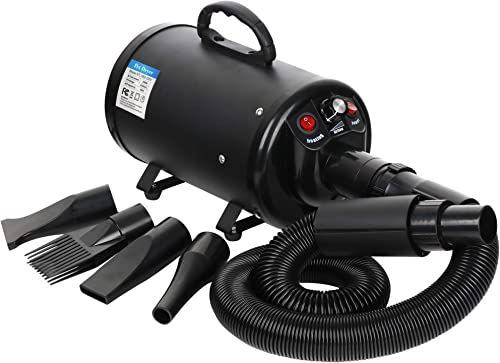 Nova Microdermabrasion Dog Pet Grooming Force Hair Dryer Blower Heater Adjustable Speed w/ 3 Nozzles and 2 Filters 2400W
