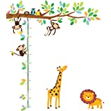 Decowall DW-1402 Little Monkeys Tree and Animals Height Chart Kids Wall Decals Wall Stickers Peel and Stick Removable…