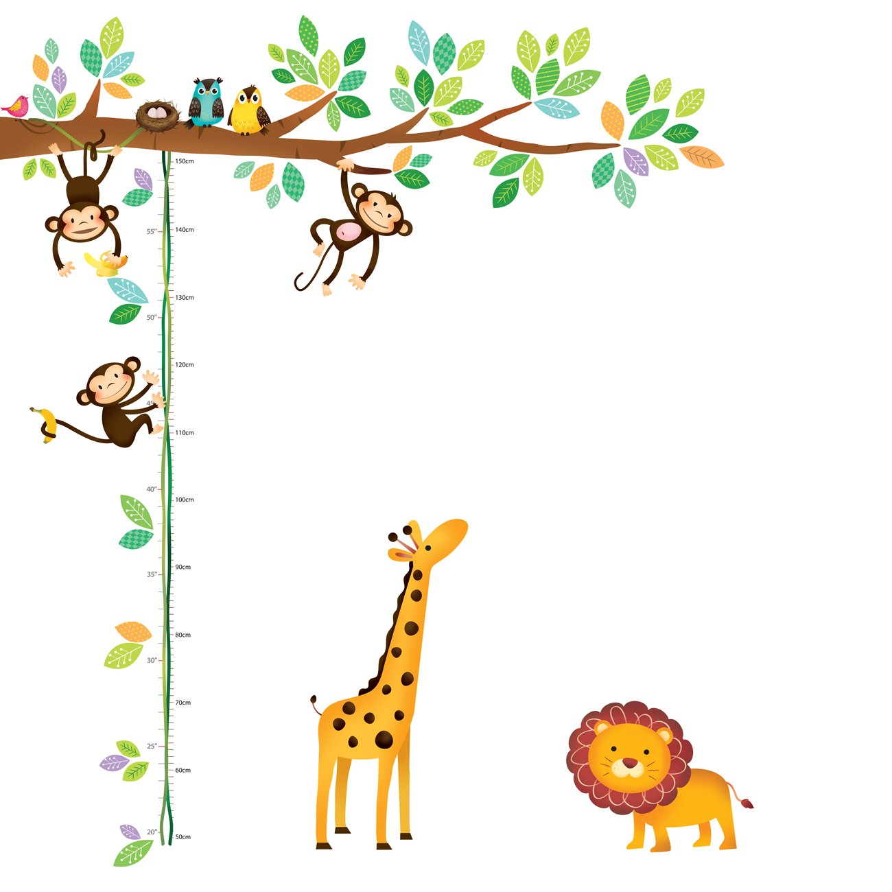 Decowall DW-1402 Little Monkeys Tree and Animals Height Chart Kids Wall Decals Wall Stickers Peel and Stick Removable Wall Stickers for Kids Nursery Bedroom Living Room by DECOWALL