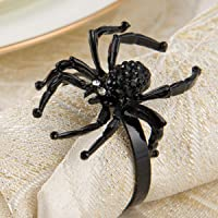 ANPHSIN Set of 6 Halloween Napkin Rings- Black Rhinestone Spider Napkin Holder Rings for Halloween Holiday Party Dinner Wedding Banquet Dinning Table Settings Decoration