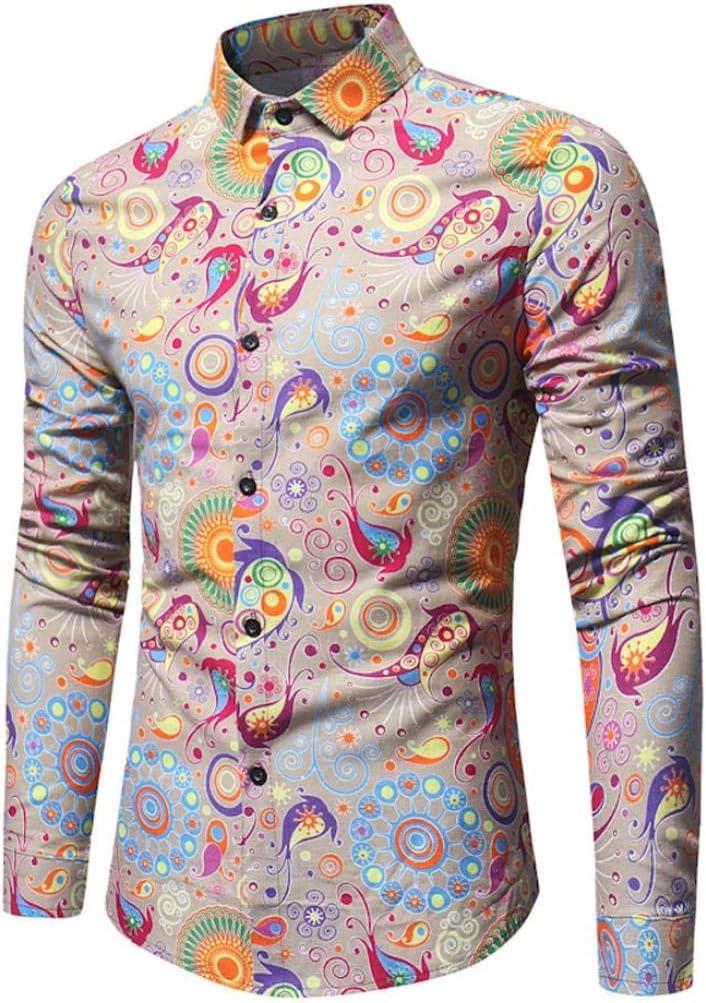 Hombres camisa impreso de manga larga, toamen décontractée personalidad Top blusa Copa Slim Top Estampado Svelte Tops para hombres amarillo amarillo L: Amazon.es: Belleza