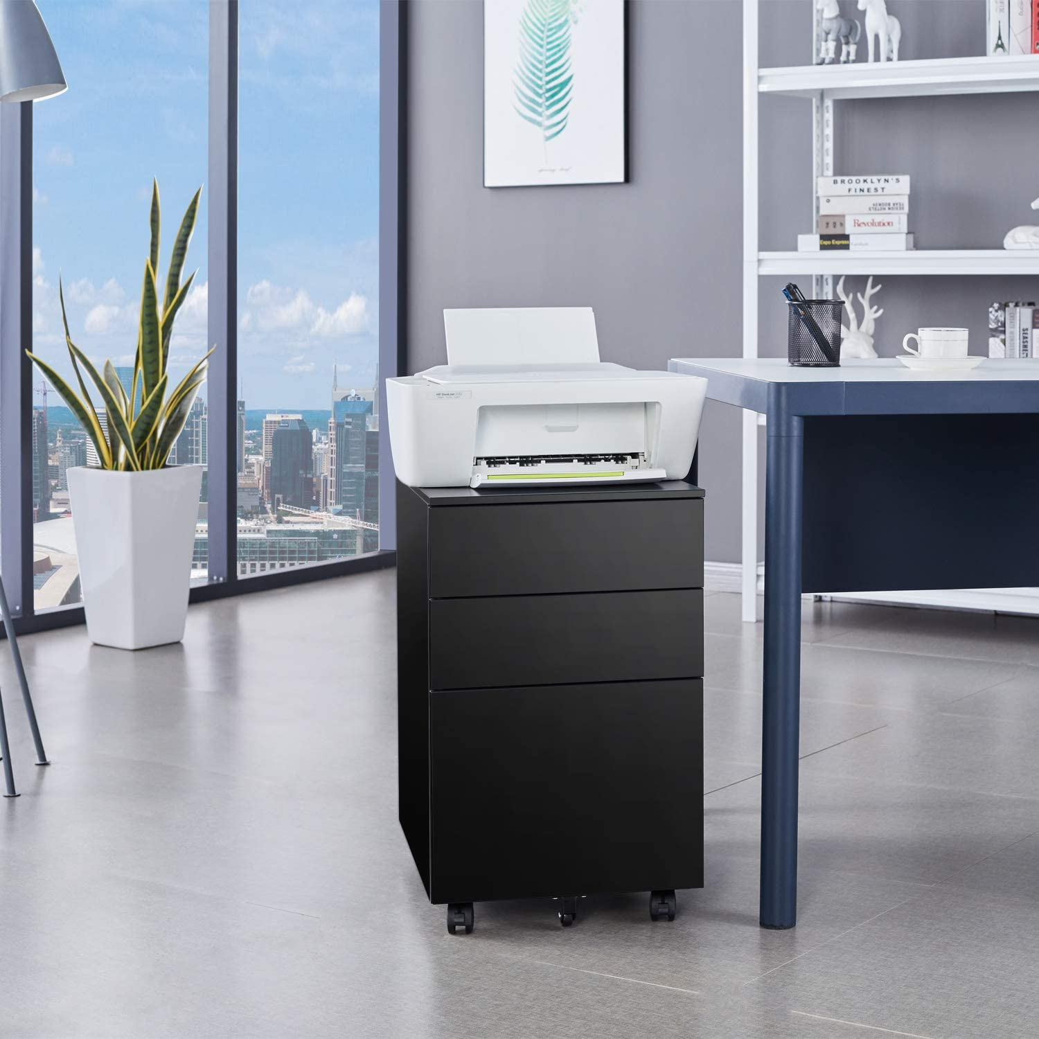 Bonnlo Mobile File Cabinet With Lock 3 Smooth Gliding