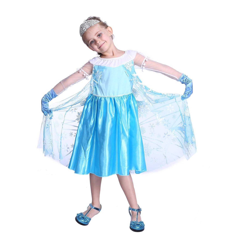 costume deguisement reine des neiges princesse robe elsa bleu frozen snow fille manche longue transparent 2
