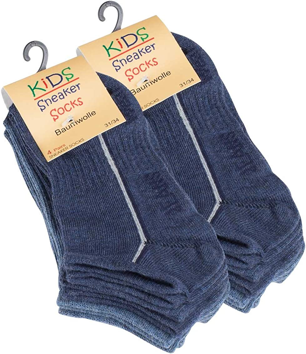 8 pares ni/ños algod/ón rico tobillo Calcetines en azul
