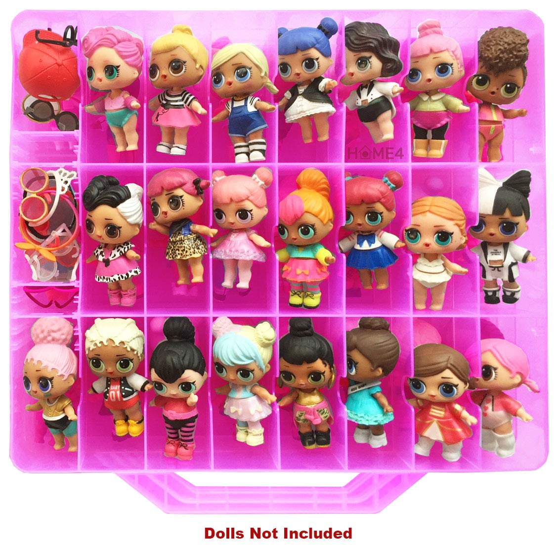 HOME4 Double Sided Storage Container - Toy Organizer Case - 48 Compartments - Perfect for Small Dolls and Toys - Dolls Not Included (Pink)