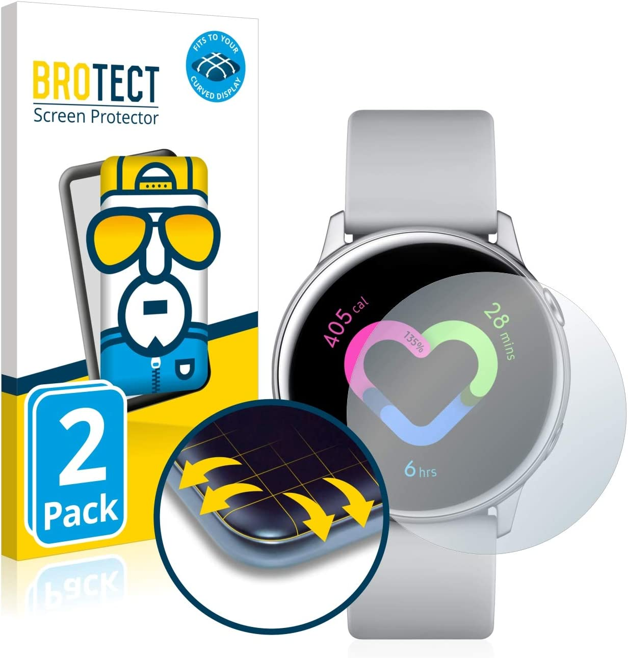 BROTECT Protector Pantalla Completa Compatible con Samsung Galaxy Watch Active / 2 (40mm) (2 Unidades) 3D Curvo