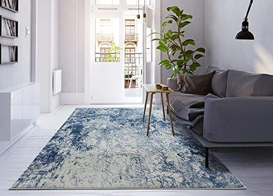 Luxe Weavers New Castle Blue 8x10 Modern Area Rug