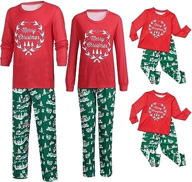 POLP niño Pijamas Navidad Familia Conjunto Pantalon y Top Fiesta Manga Larga Trajes Navideños Pijama Dos Piezas Mujer Hombre Niños Niña Ropa de Dormir ...